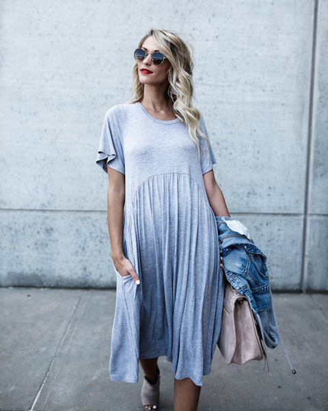 Easy Breezy Pocketed Dress - Heather Grey