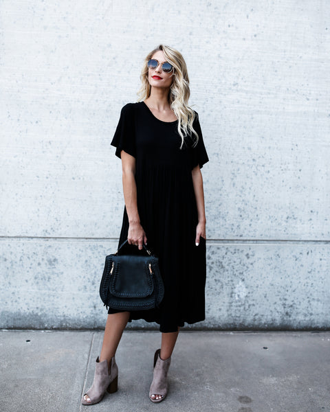 Easy Breezy Pocketed Dress - Black