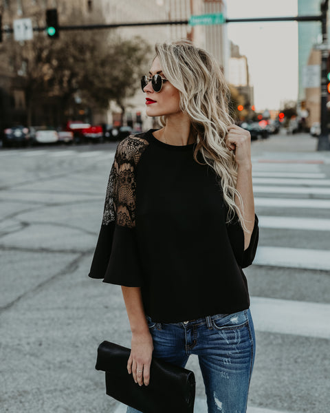 Dream All Day Lace Blouse - Black