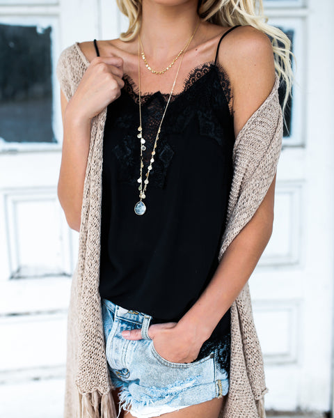 PREORDER - Darling You Lace Cami Tank - Black