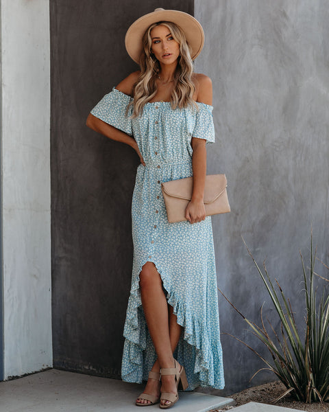 Blakely Off The Shoulder High Low Maxi Dress