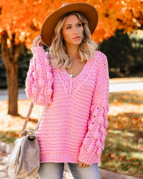 Blanket Of Snow Handmade Chunky Knit Sweater - Candy Pink - FINAL SALE