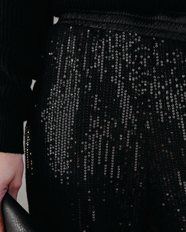 Bling Bling Pocketed Sequin Joggers - Black