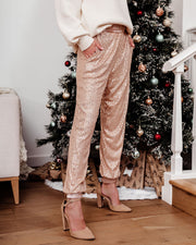 Bling Bling Pocketed Sequin Joggers - Champagne