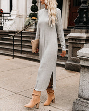 Blizzard Ribbed Long Sleeve Midi Dress