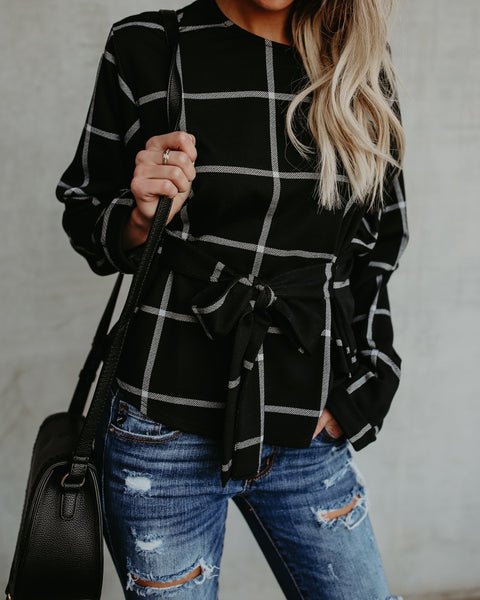 Eloise Plaid Tie Top