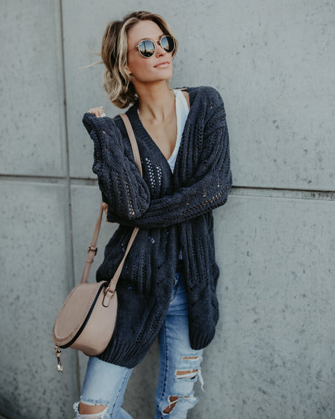 Gracen Knit Cardigan - Charcoal
