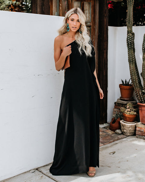 PREORDER - Blown Away One Shoulder Statement Maxi Dress - Black