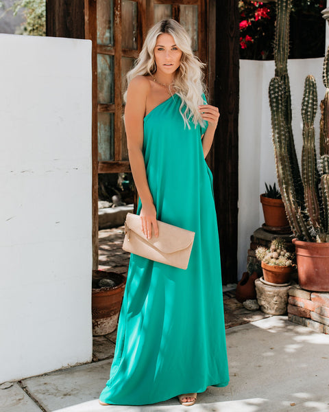 Blown Away One Shoulder Statement Maxi Dress - Jade