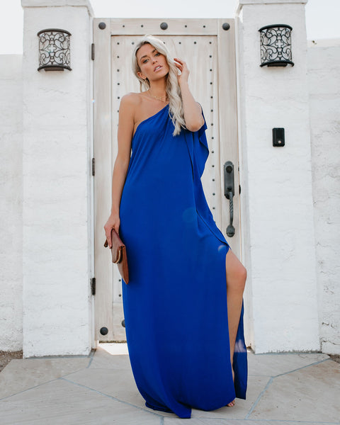 Blown Away One Shoulder Statement Maxi Dress - Royal Blue