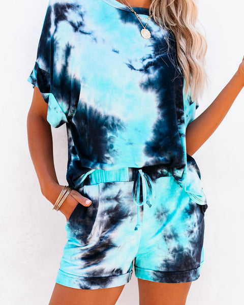 Blue Lagoon Pocketed Tie Dye Knit Shorts