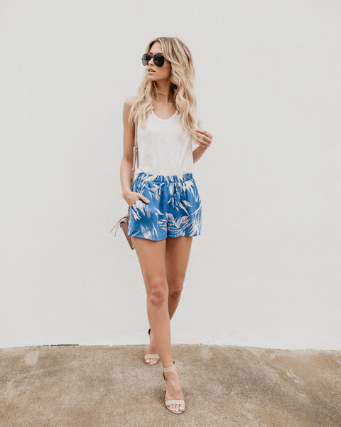 Sweet Escape Pocketed Shorts - Blue