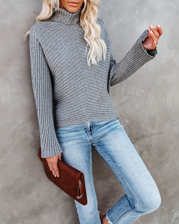 Blurred Lines Ribbed Turtleneck Sweater - FINAL SALE view 3