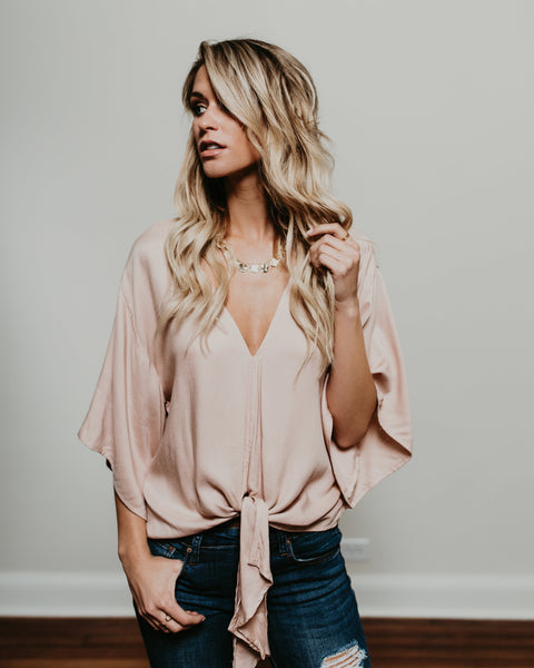 Take Note Tie Top - Blush