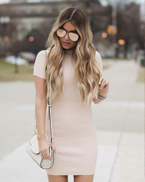 Center Stage Bodycon Dress - Blush