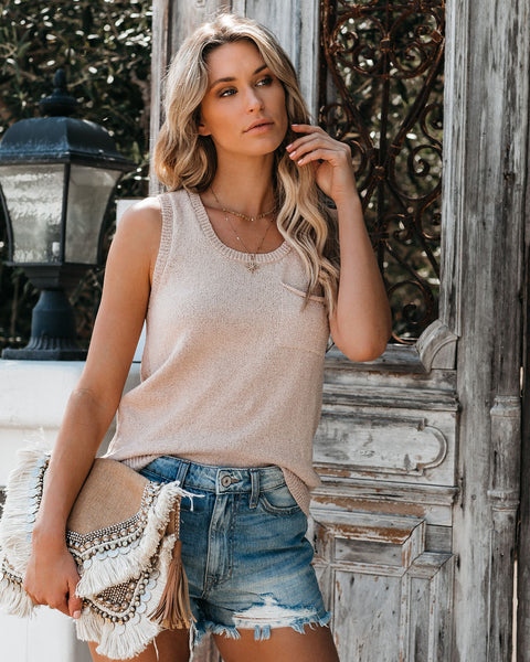 Bodhi Button Back Knit Pocket Tank - Blush