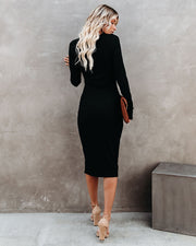 Body Language Ribbed Cutout Midi Dress - Black