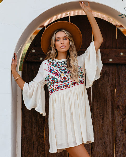 Boho Soul Embroidered Dress - Natural