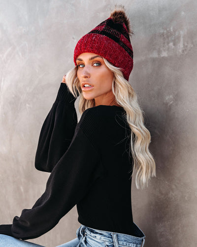 Bonfire Plaid Pom Beanie - Red