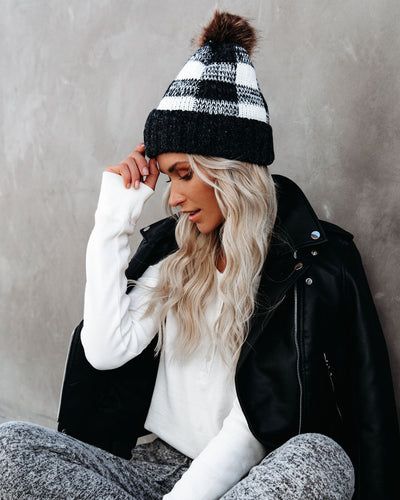 Bonfire Plaid Pom Beanie - White