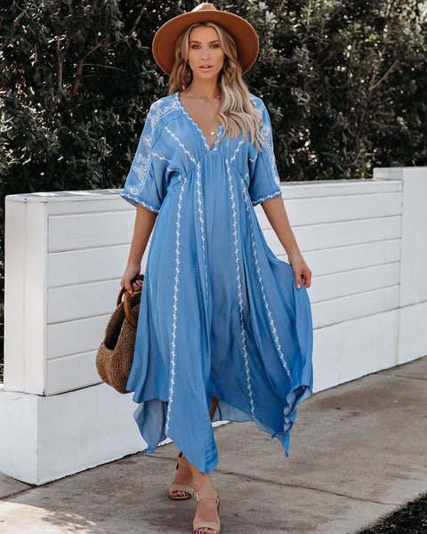 Bonne Amie Embroidered Chambray Handkerchief Dress