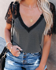 Bonus Points Striped Lace Top - Black view 11