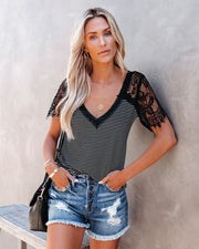Bonus Points Striped Lace Top - Black view 5