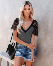 Bonus Points Striped Lace Top - Black view 1