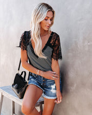 Bonus Points Striped Lace Top - Black view 8
