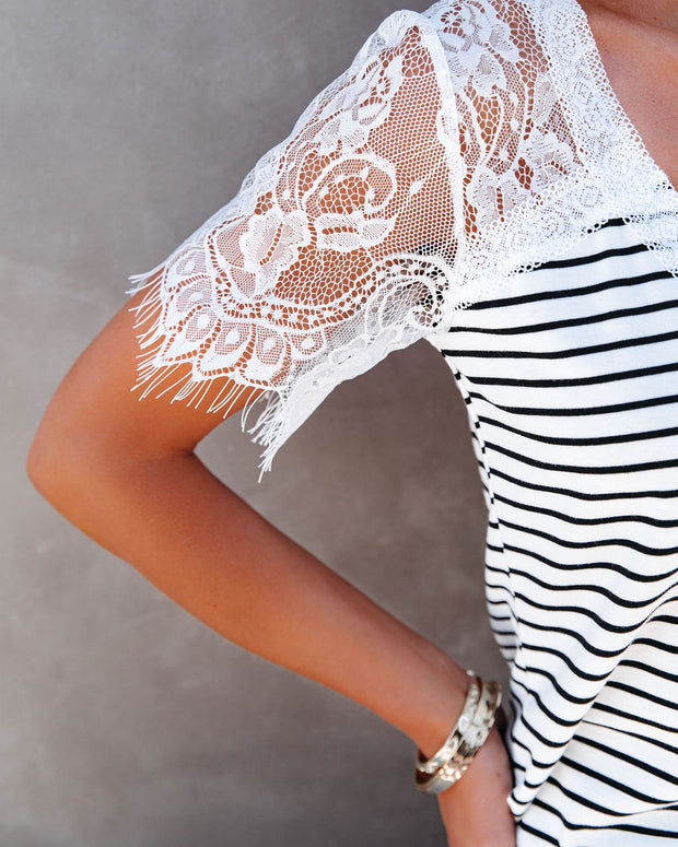 Bonus Points Striped Lace Top - White view 4