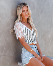 Bonus Points Striped Lace Top - White view 1