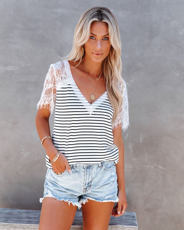 Bonus Points Striped Lace Top - White view 6