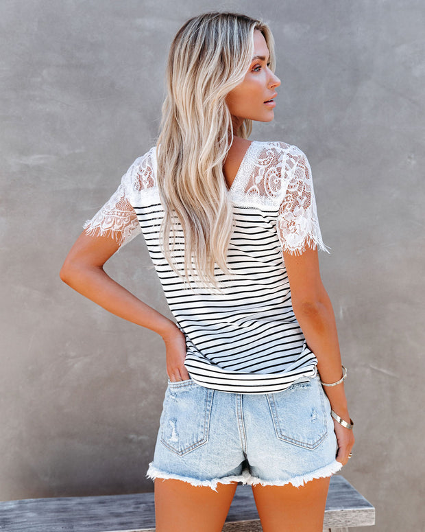 Bonus Points Striped Lace Top - White view 2