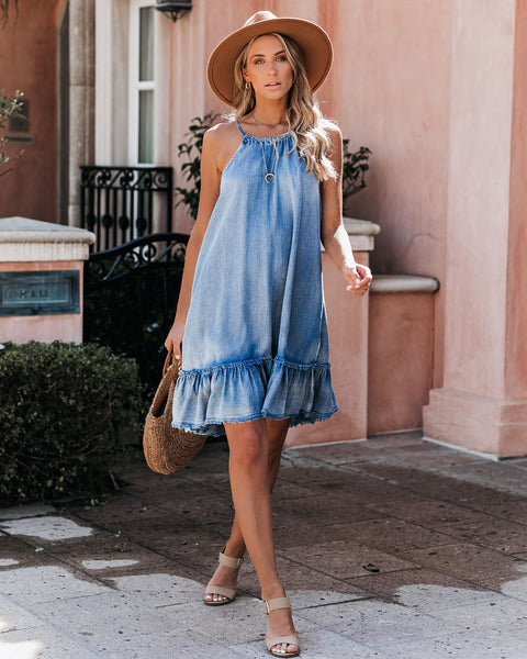 Bon Voyage Chambray Halter Dress