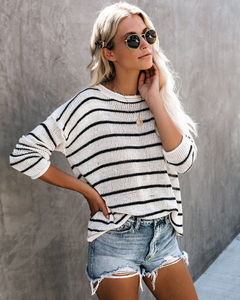PREORDER - Bon Voyage Striped Knit Sweater