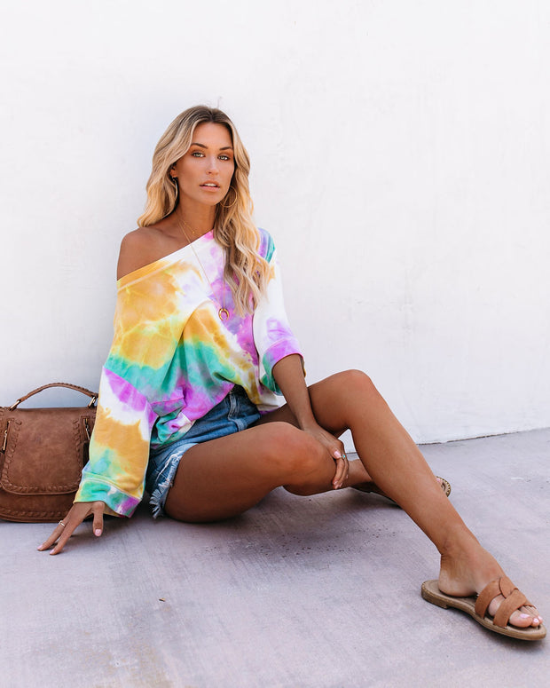 Born Ready Tie Dye French Terry Knit Top