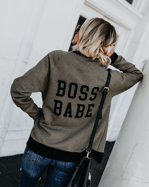 Boss Babe Cotton Pocketed Knit Bomber Jacket