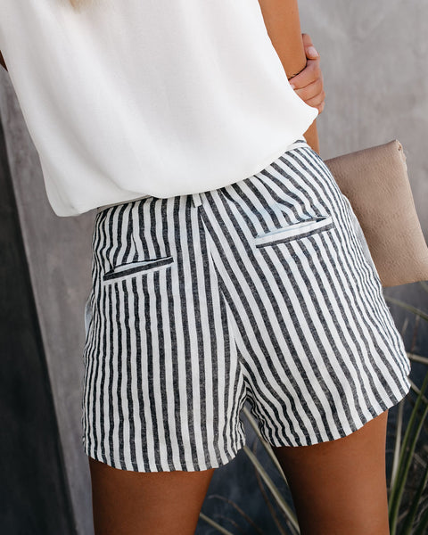 Bosworth Striped Pocketed Linen Tie Shorts