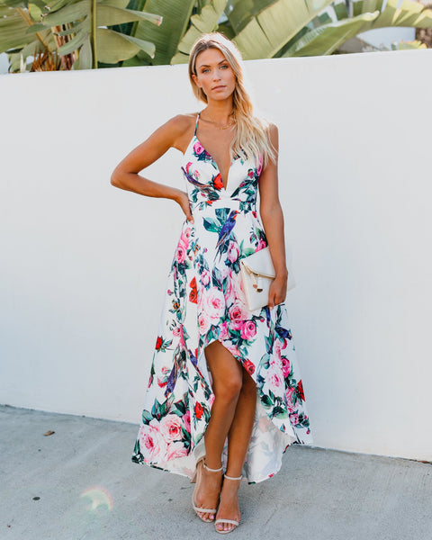 Bouquet Floral High Low Dress