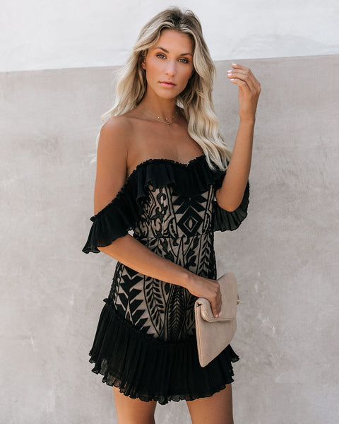 Bouquet Toss Lace Off The Shoulder Pleated Ruffle Dress - Black