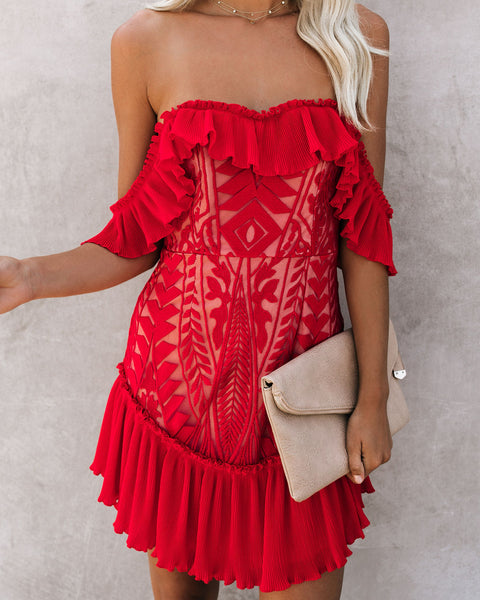 Bouquet Toss Lace Off The Shoulder Pleated Ruffle Dress - Red
