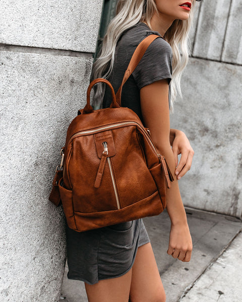 Bowie Faux Leather Convertible Backpack - Tan