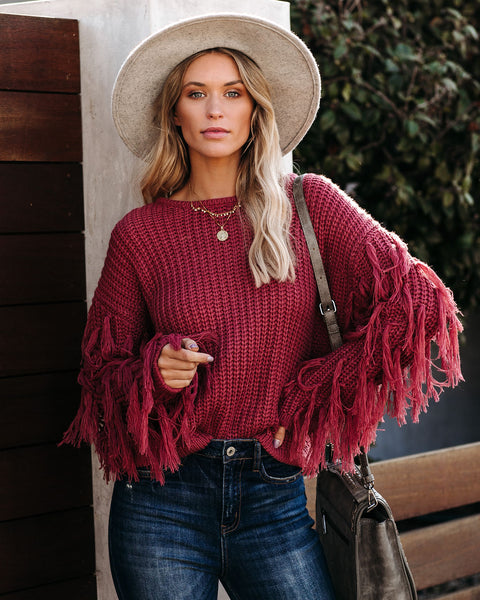 Bowman Fringe Knit Sweater - Clay