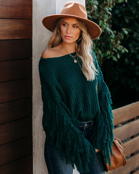 Bowman Fringe Knit Sweater - Hunter Green