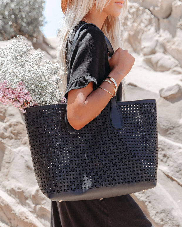 Brazil Perforated Faux Leather Tote Bag - Black view 1