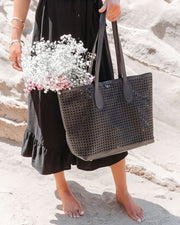Brazil Perforated Faux Leather Tote Bag - Black view 3
