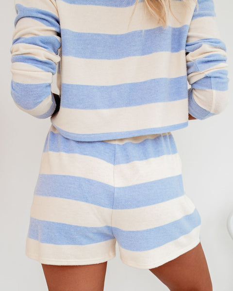 Breakfast In Bed Striped Knit Shorts