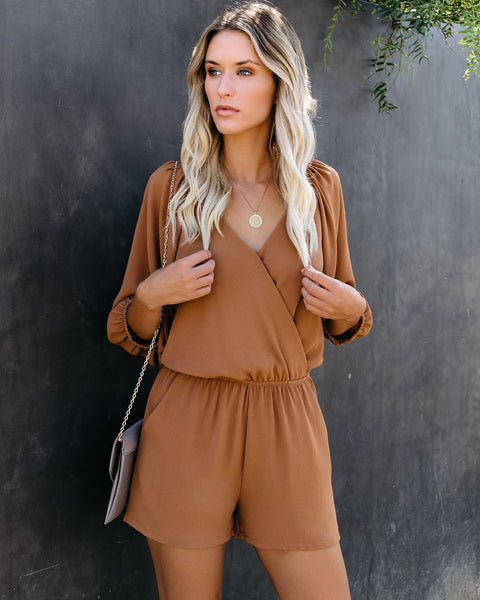Breaks Into Colors Pocketed Romper - Camel - FINAL SALE
