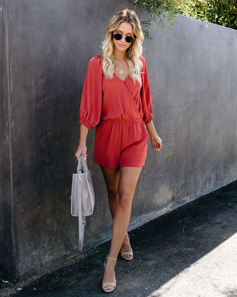 Breaks Into Colors Pocketed Romper - Terracotta - FINAL SALE