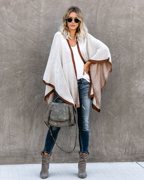 Break The Ice Knit Poncho - Natural/Camel